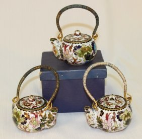 Set Of Three Cloisonne Tea Pots