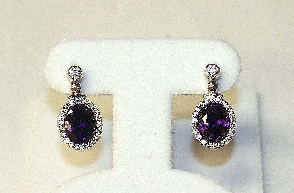 Amethyst and white sapphire dinner earrings