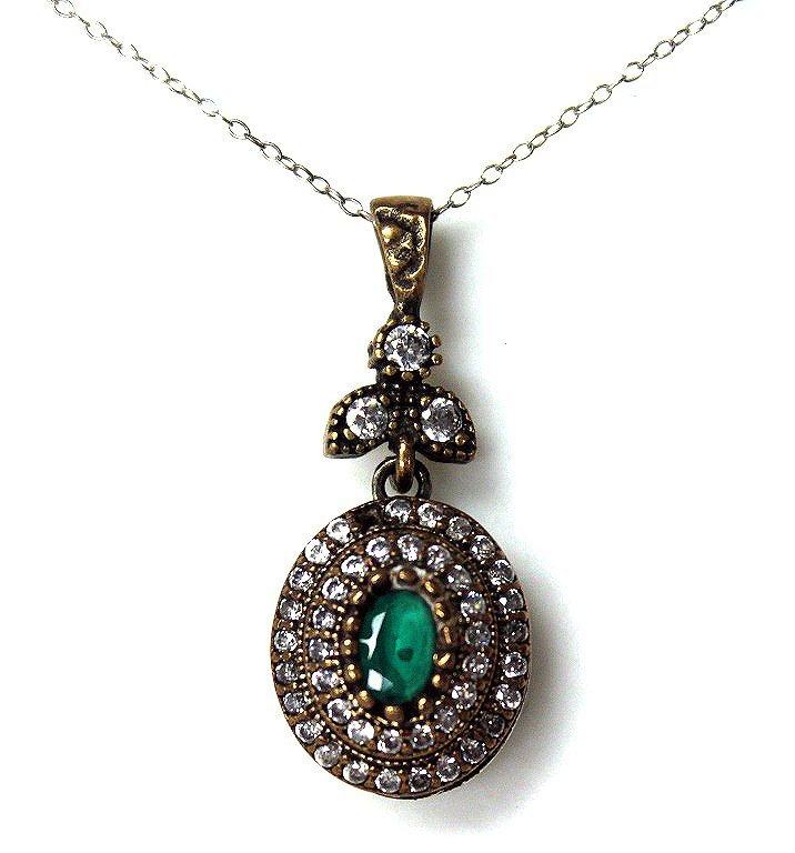 Genuine emerald evening necklace set in sterling