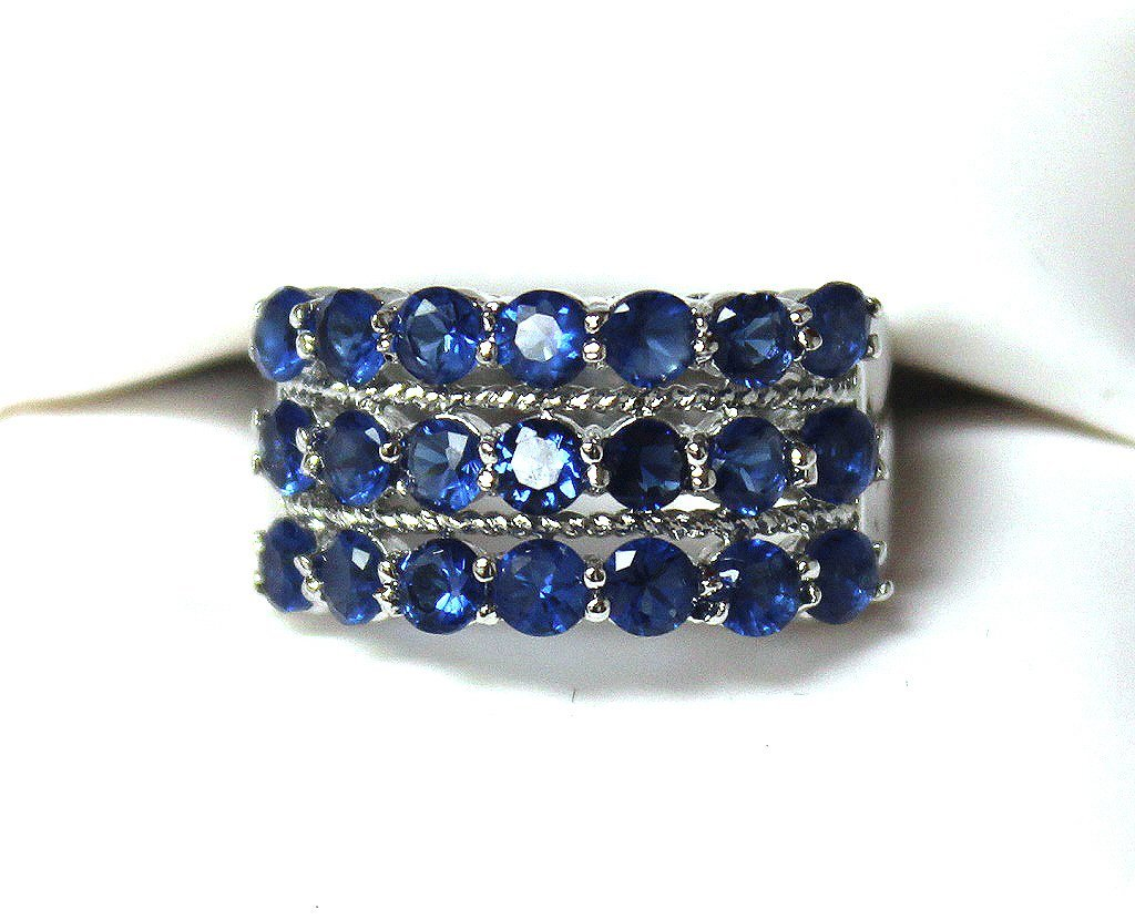 3 row sapphire cocktail ring set in SS