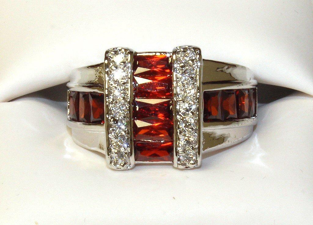 Custom orange sapphire dinner ring set in sterling