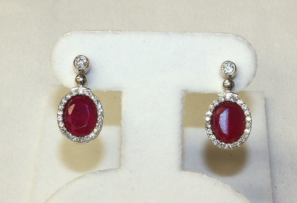 Genuine ruby estate earrings set in sterling