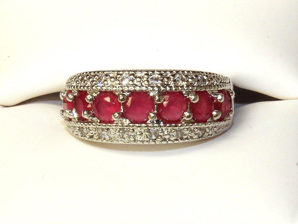 Genuine ruby estate ring set in sterling silver