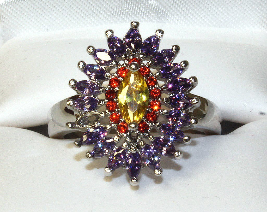 Amethyst and citrine dinner ring set in sterling
