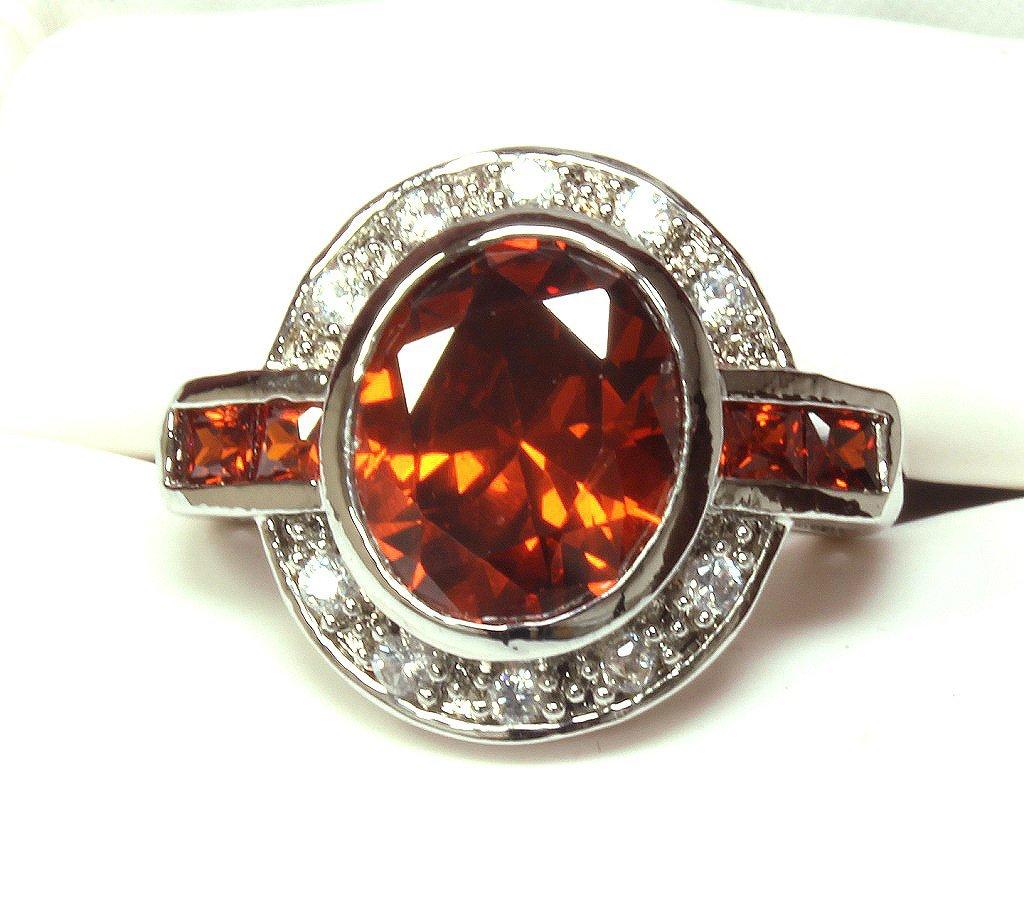 Large garnet estate ring set in sterling silver.