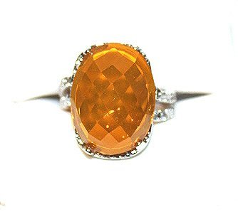 12 ct. orange Mexican fire opal ring set in SS