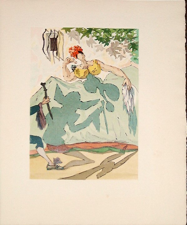 523: Salvador DALI, orig. woodcut in colors of 1959