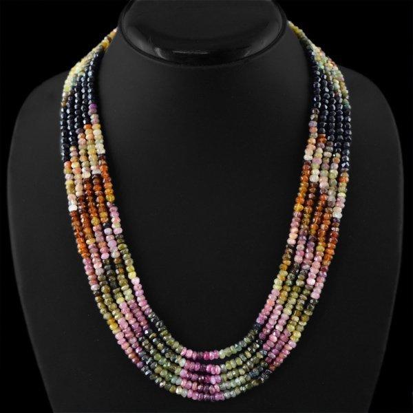5 Strand Watermelon Tourmaline Beads Necklace