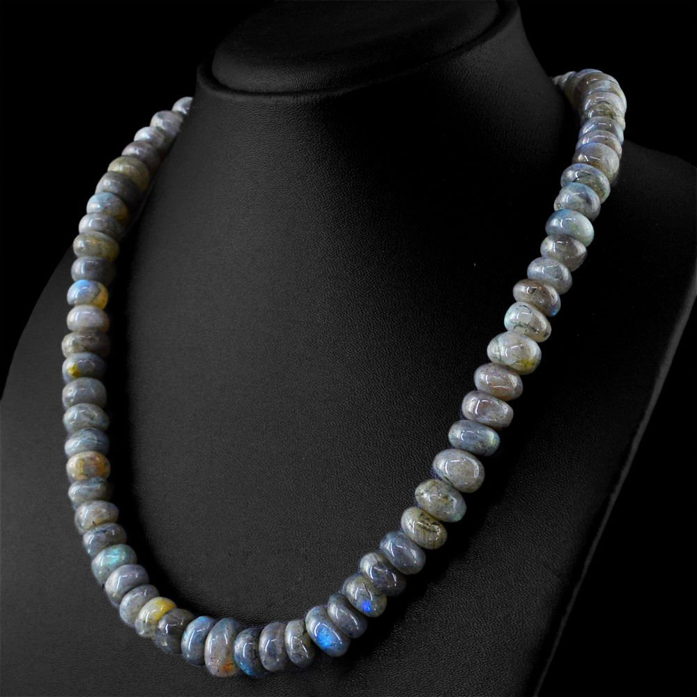 Blue Flash Labradorite Round Shape Beads Necklace