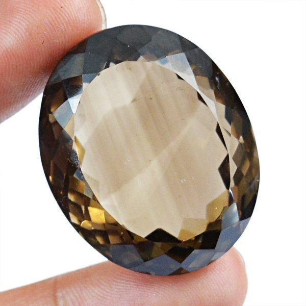 Natural Faceted Oval Shaped Smoky Quartz Gem