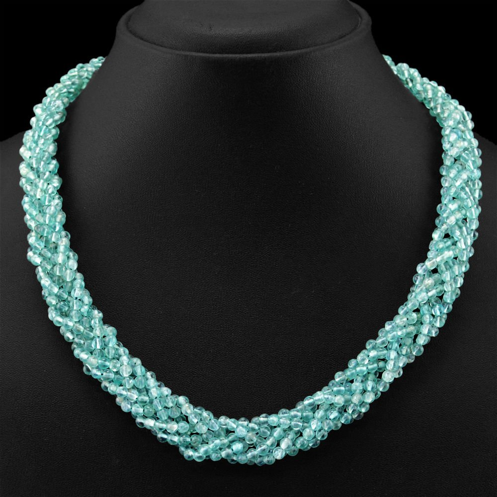 Blue Apatite Untreated Round Shape Beads Necklace