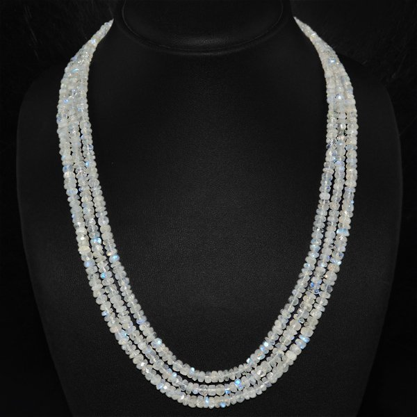 3 Line White Moonstone Beads Necklace