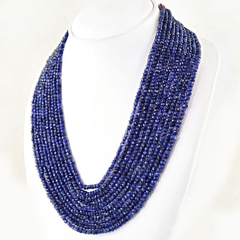 Natural 9 Strand Rich Blue Iolite faceted necklace