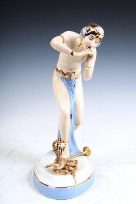Royal Dux Porcelain Snake Charmer Figure