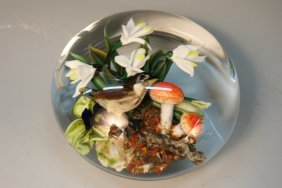 Glass Flower & Bird Paperweight by Ayotte 1988