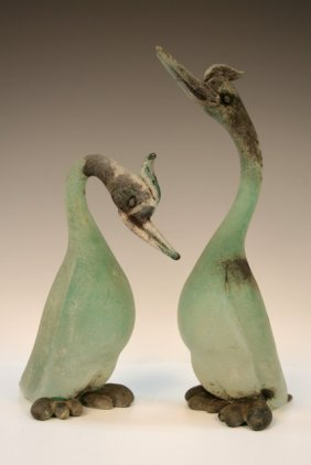 Pair of Murano Cenedese Scavo Glass Birds