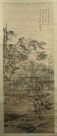 Chinese Scroll Of Fisherman & Boy In Landscape