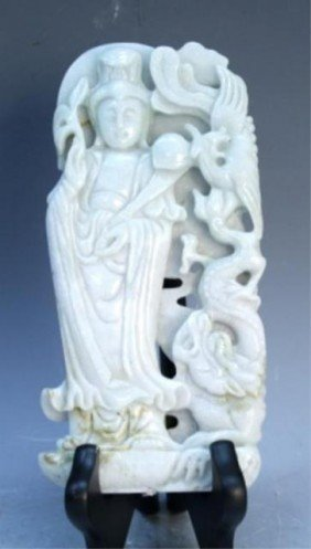 2: Chinese White Jade Guanyin with Phoenix and Dragon