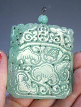 8: Chinese Jadeite Pendant w Bats & Lingzhi Mushrooms