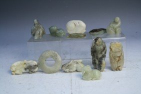 Lot Of 12 Pieces Of Chinese Jade Qing 20th C.