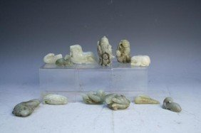 10: Lot of 12 Pieces of Chinese Jade Qing 20th C.