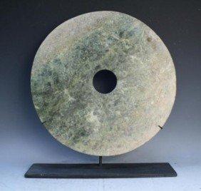 17: Chinese Large Jade Bi Disk Qijia Culture