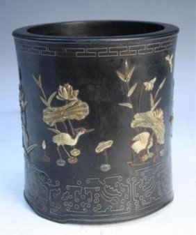24: Chinese Zitan Brushpot with Jade and Silver Inlays