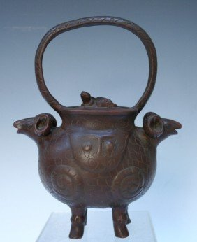 513: Chinese Yixing Clay Teapot with Rams
