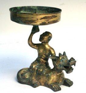 543: Chinese Gilt Bronze Oil Lamp Han Dynasty