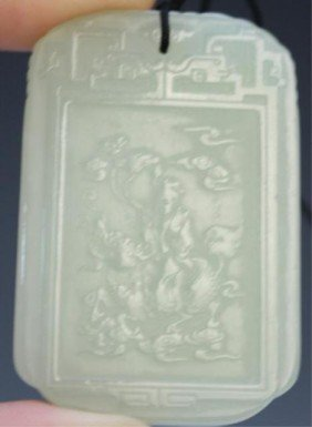 12: Chinese White Jade Plaque Amulet with Figure