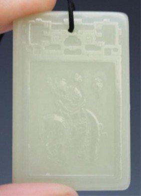 Chinese White Jade Plaque Amulet W/ Man & Elephant