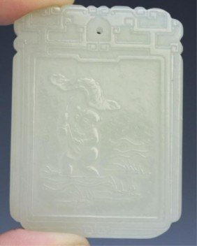 14: Chinese White Jade Plaque Amulet w/ Figure