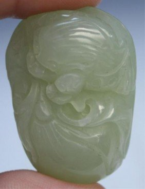 21: Chinese White Jade Amulet with Toad