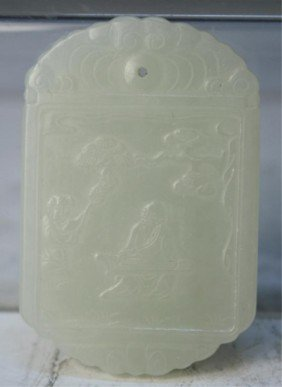 3: Chinese Carved Jade Pendant with Figures