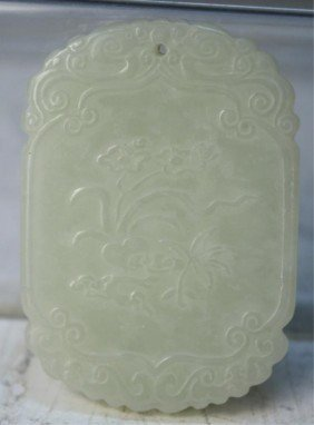 4: Chinese Carved Jade Pendant with Musicians