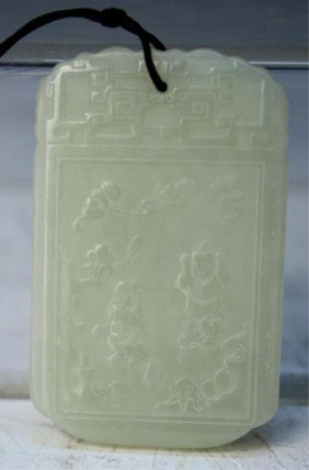 6: Chinese Carved Jade Rectangular Pendant