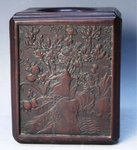 Chinese Carved Wood Square Brushpot