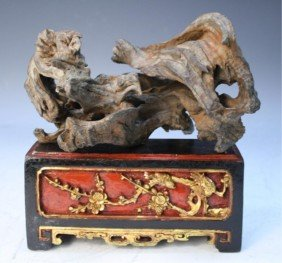 Chinese Zitan Root In Shape Of Scholar Rock 19th C
