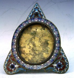 Oval Photo Frame W/ Enameled Patterns