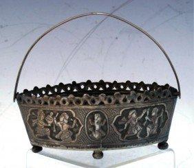 Metal Basket W/ Handle And Figural Scenes