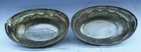 Pair Of German Lowenthal Silver Bowls With Flowers
