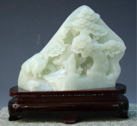 Chinese Jade Landscape And Mountain On Wood Base