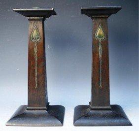 Pair Of English Arts & Crafts Oak Candlesticks