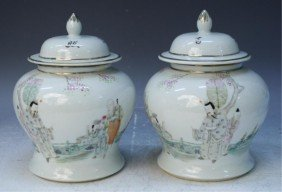 Chinese Pair Of Porcelain Covered Jars W/ Figures