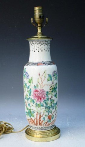 Chinese Vase Lamp W/ Floral Motif 20th C.