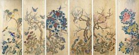Set Of 6 Korean Traditional Bird & Flower Painting