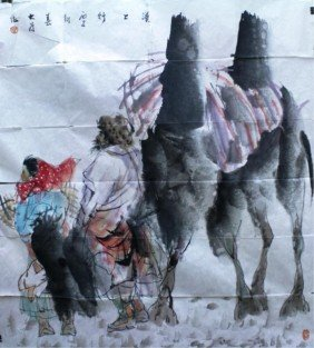 Chinese Painting Of Old Man & Camel Aft. Dawei