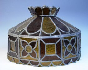 Orange & Brown Leaded Glass Lampshade