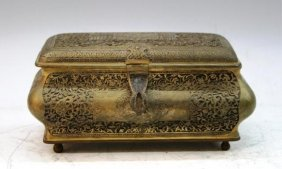 Bronze Box W/ Braided Patterns & Figures