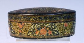 Oval Lacquered Box With Flowers